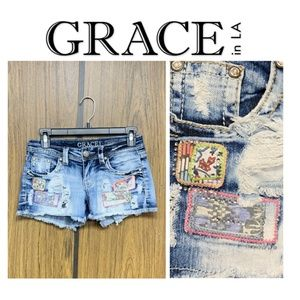 Grace in LA Patchwork Distressed Jean Shorts Denim